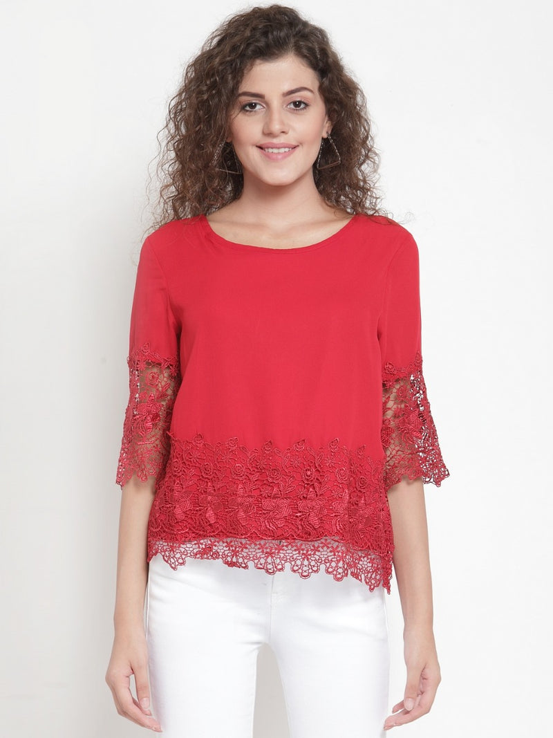 Women Solid Maroon Top With Lace Detail