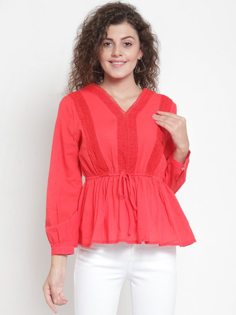 Women Red Crotchet Drop Waist Top