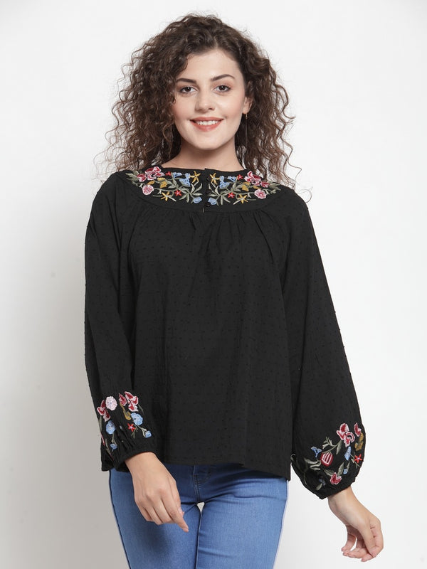 Women Embroidered Black Round Neck Top