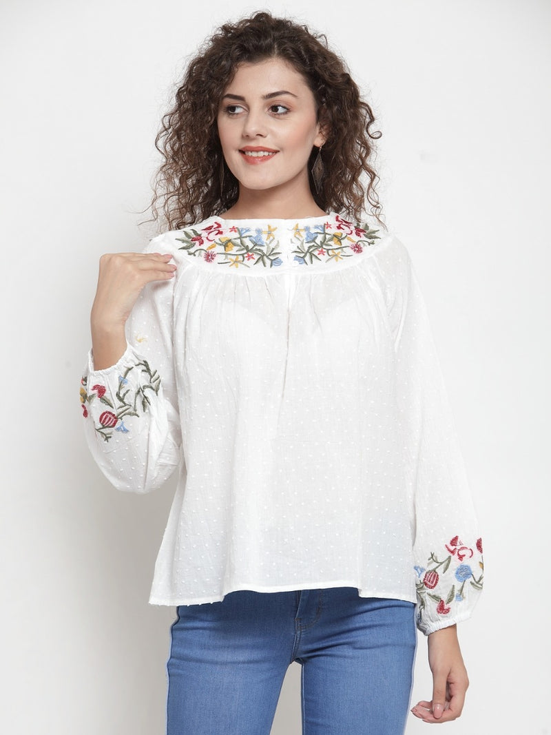Women Embroidered Cream Round Neck Top
