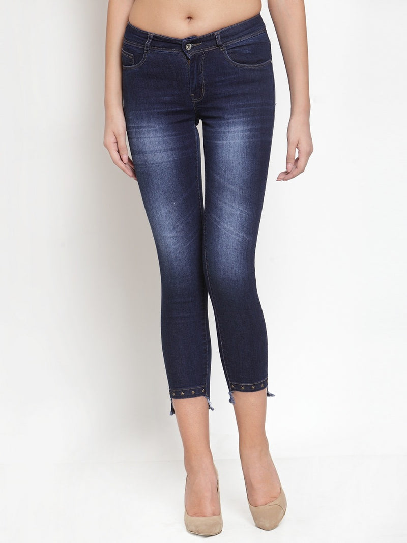 Women Dark Blue Washed Denim Capri
