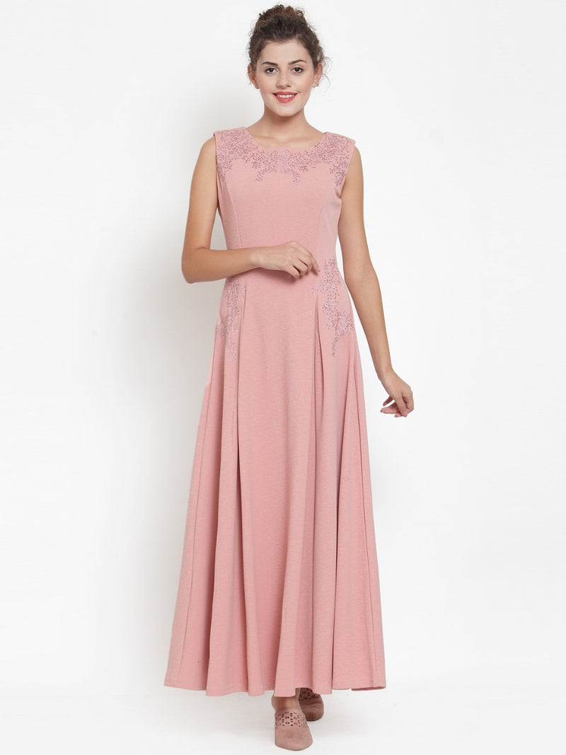 Women Pink Round Neck Maxi Dress