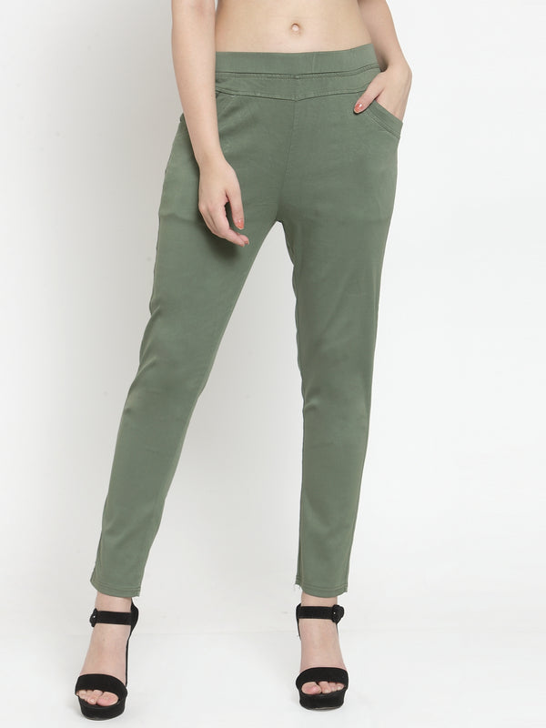 Women Plain Olive Green Mid-Rise Jegging