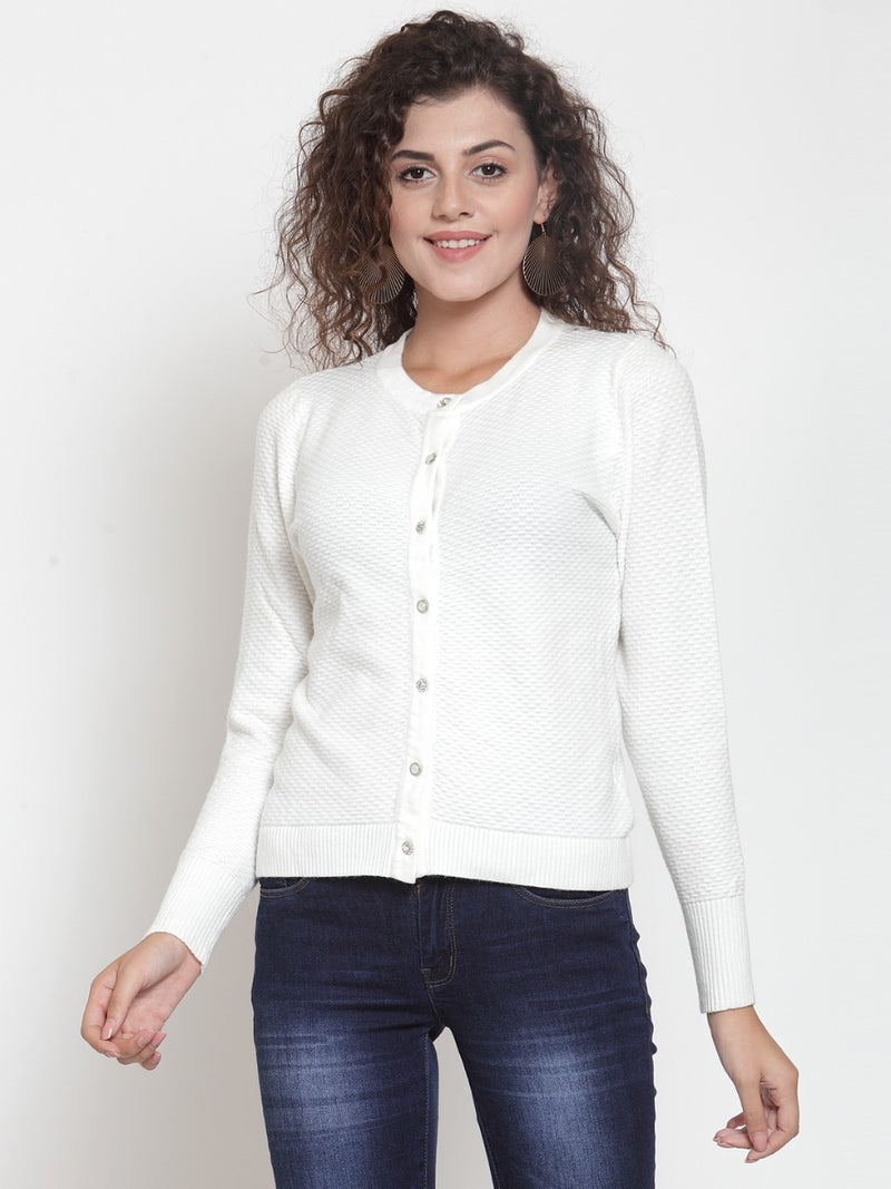 Women Solid Off-White Round Neck Fitted Cardigan