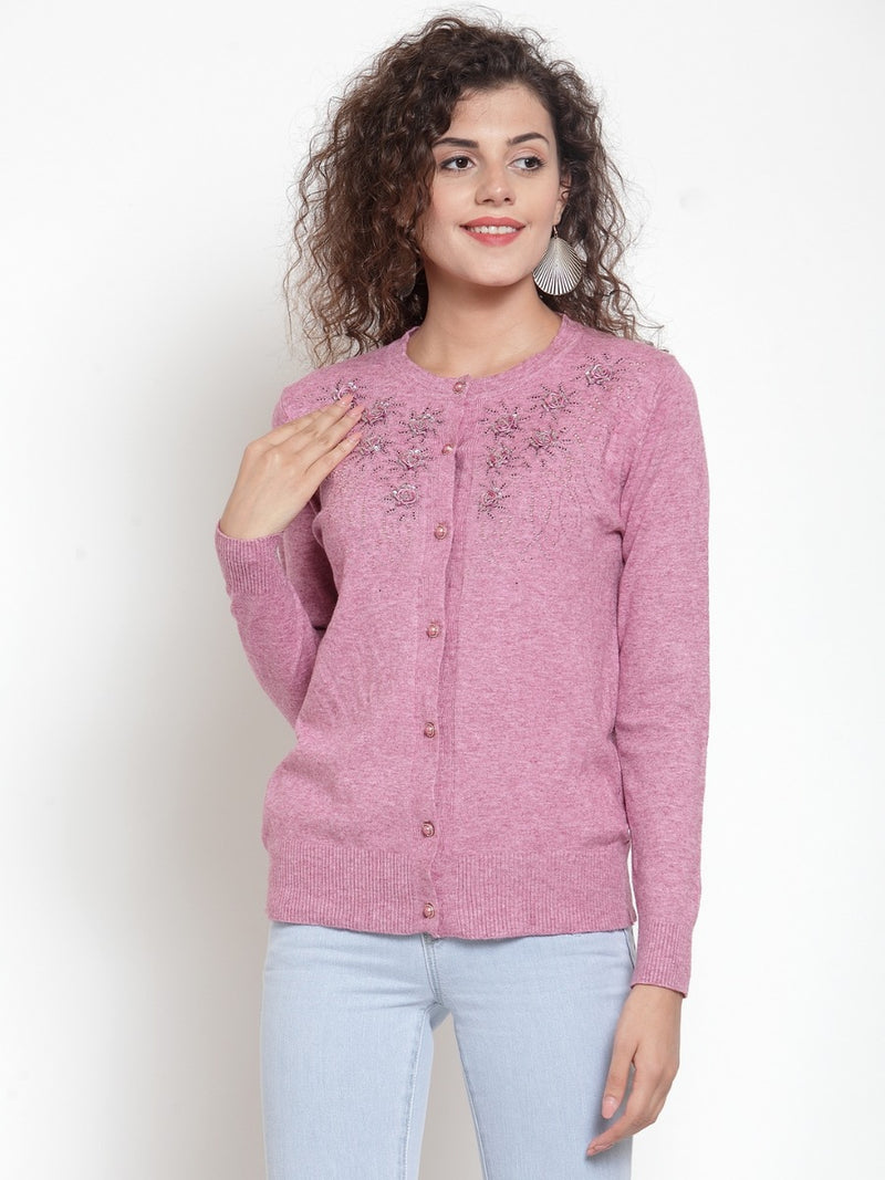 Women Pink Embroidered Round-Neck Cardigan