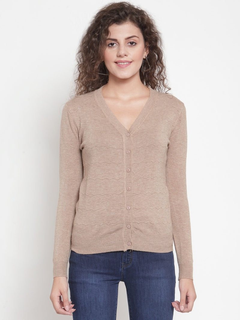 Women Brown Solid Basic Cardigan