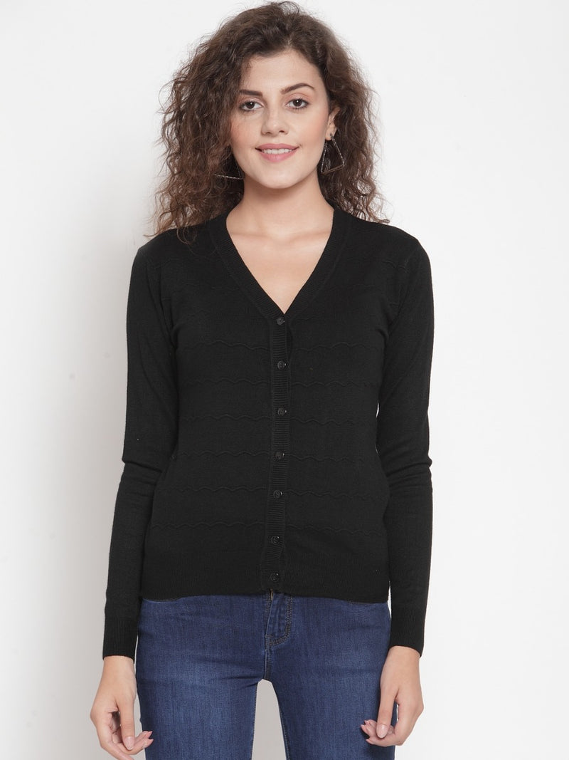 Women Black Solid Basic Cardigan