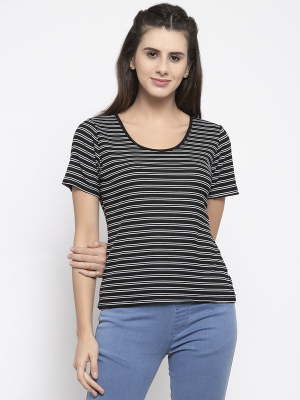Women Striped Black Scoop Neck Top