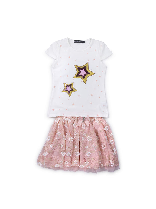 Kids White And Pink Set Of Top And Skirt