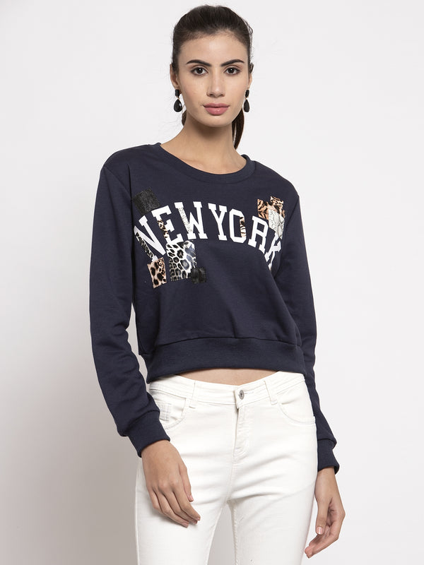 Women Navy Blue Round Neck Printed Sweatshirt