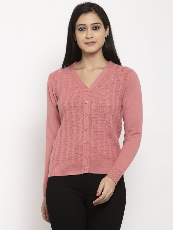 Women Pink V-Neck Solid Cardigan