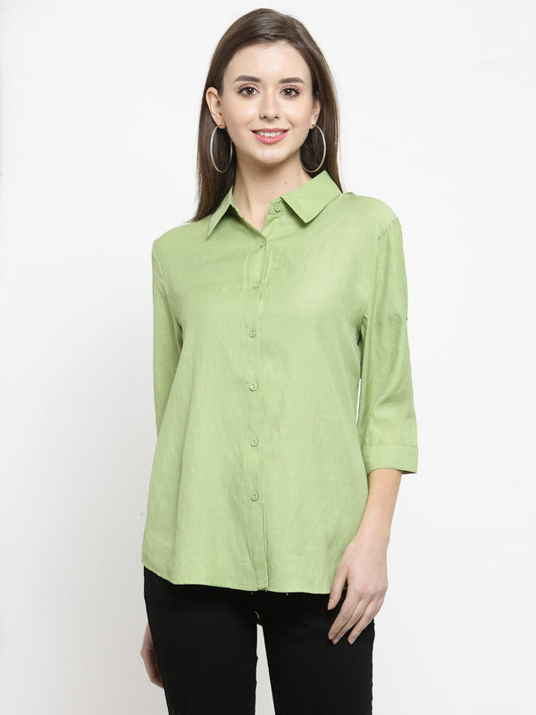 Women Plain Lime And Dusty Pink Combo Of 2 Collar Shirt