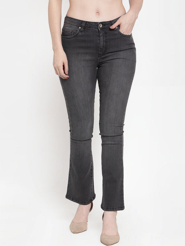Women Grey Denim Solid Jeans