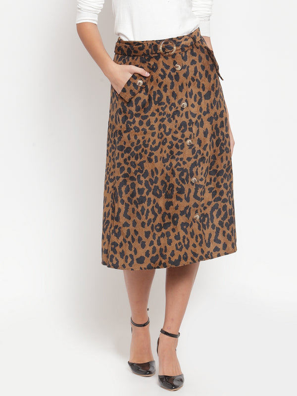 Women Solid Brown Cord Fabric Leopard Print Skirt