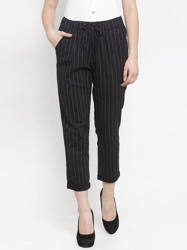 Women Black Striped Lower