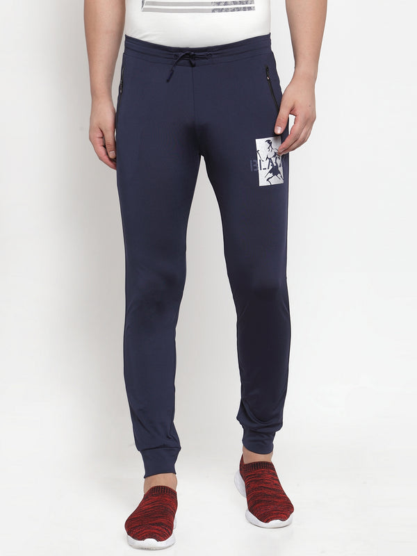 Mens Solid Navy Blue Polyester Joggers