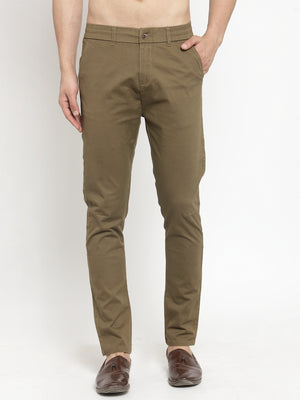 Mens Coffee Brown Solid Regular Fit Trouser