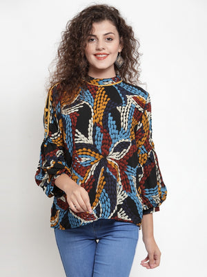 Women Printed Orange Round Neck Blouson Top