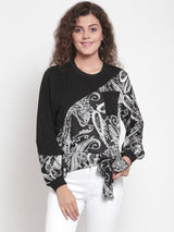 Women Black Block Printed Top With Round-Neck