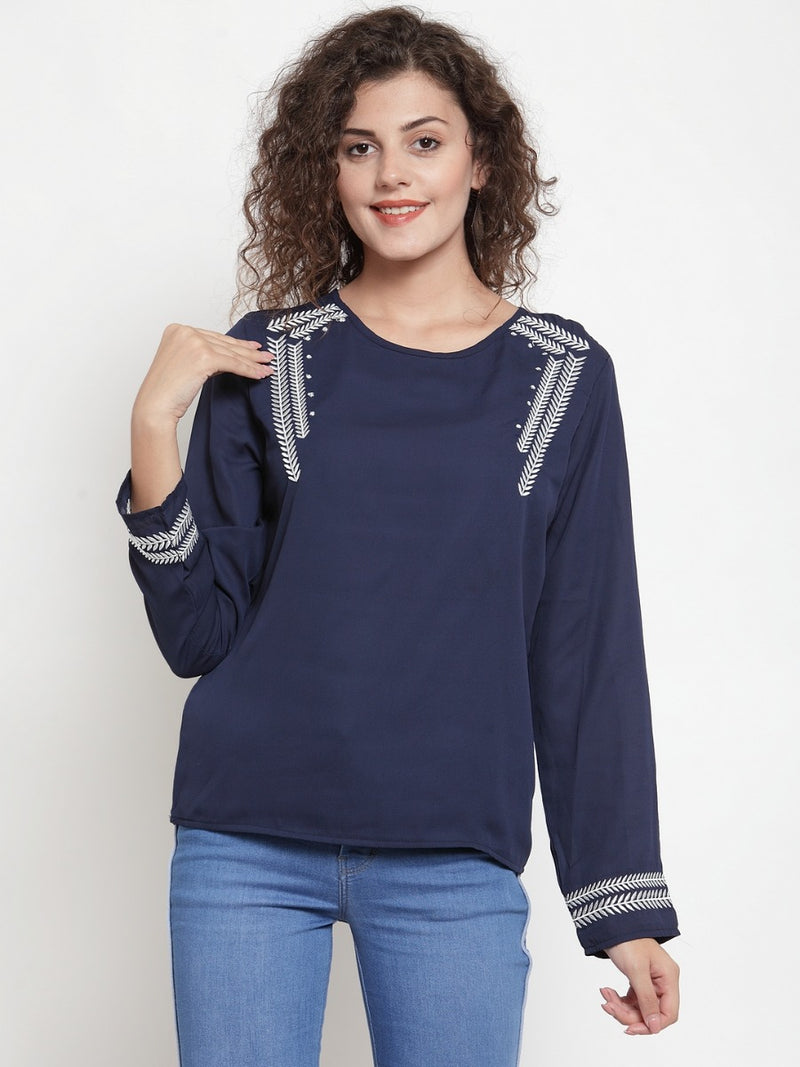 Women Solid Blue Top With Printed Motifs