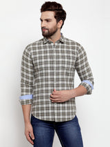 Men Olive Green Checked Regular Fitted Shirt