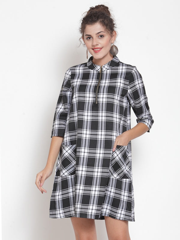Women Checked Black Tunic