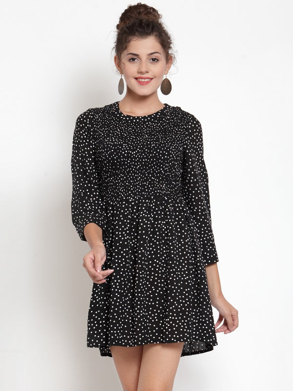 Women Polka Dots Black Tunic