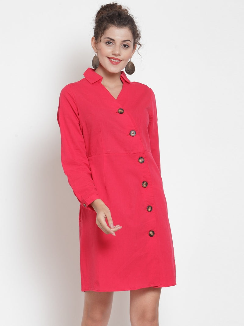 Women Solid Red Shirt Collar Tunic
