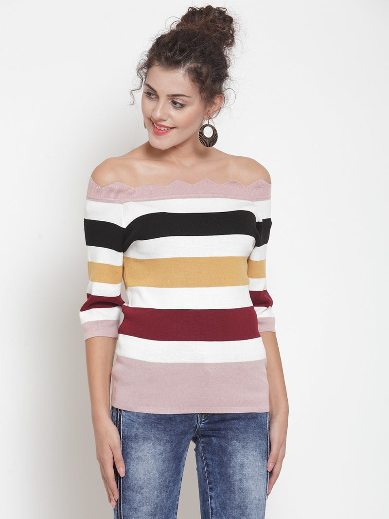 Women Colourblocked Pink Off-Shoulder Top