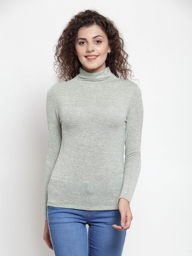Women Solid Olive Round Neck Top