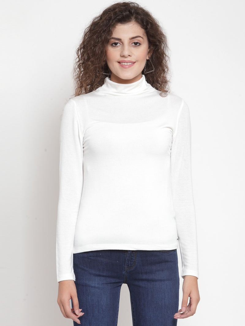 Women Solid Off White Round Neck Top