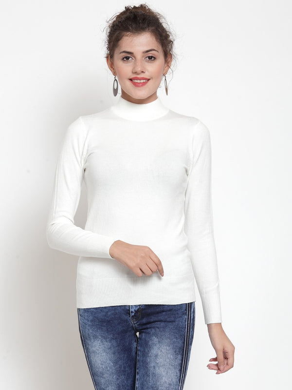 Women Off White Turtle Neck Full Sleeve Skeevi Pullover