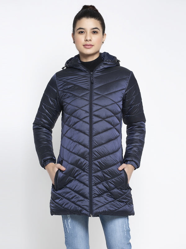 Women Navy Blue Hooded Jacket