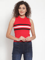 Women Red Horizontal Striped Top