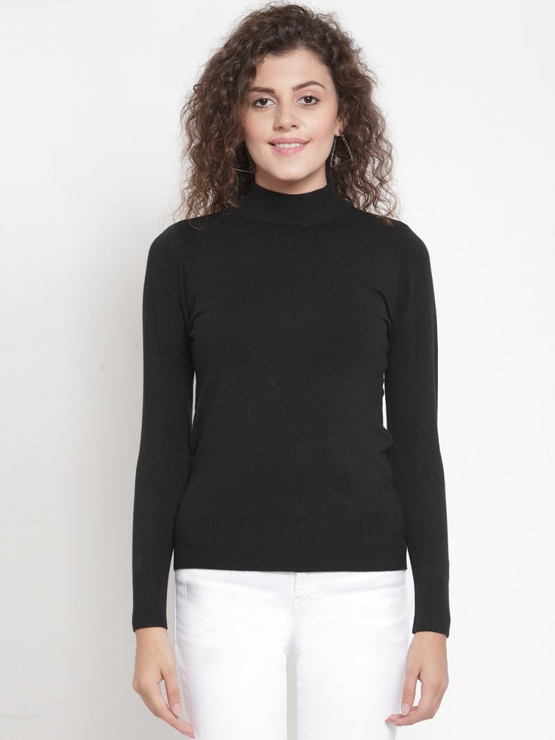 Women Black Turtle Neck Full Sleeve Skeevi Pullover