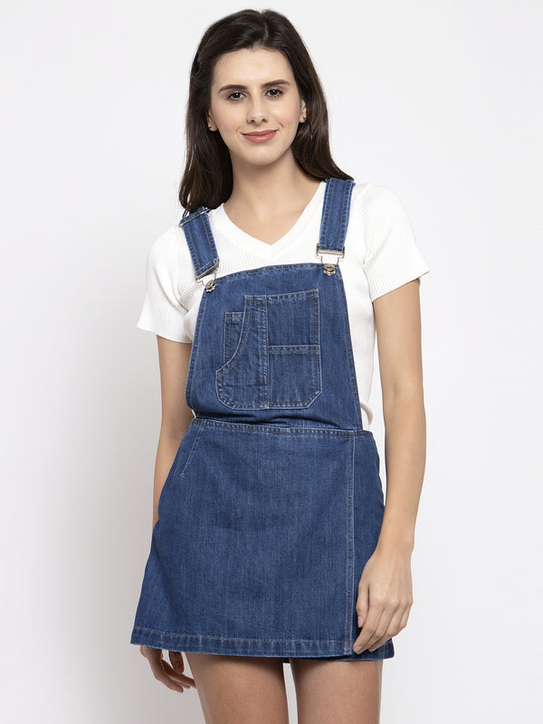 Women Dyed Blue Shoulder Straps Dungaree