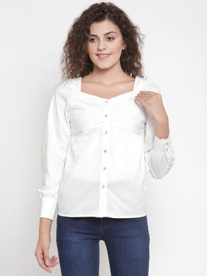 Women Solid White Sweetheart Neck Shirt