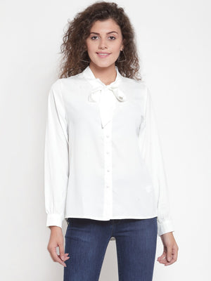 Women Solid White Tie-Up Neck Shirt