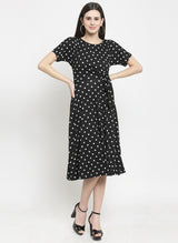 Women Black Polka Dot Shift Dress