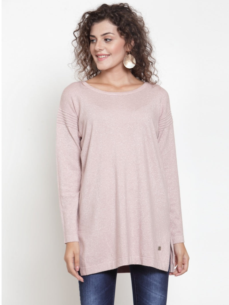 Women Pink Solid Sweater