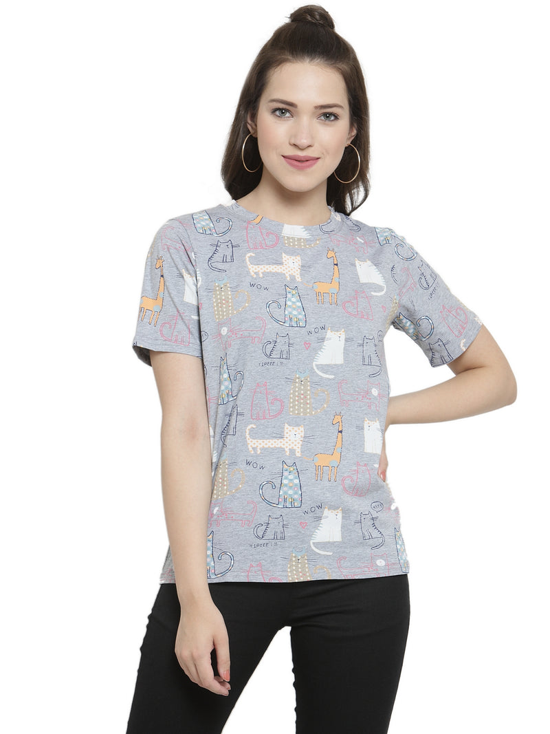 Women Regular Fit Printed Grey Tops