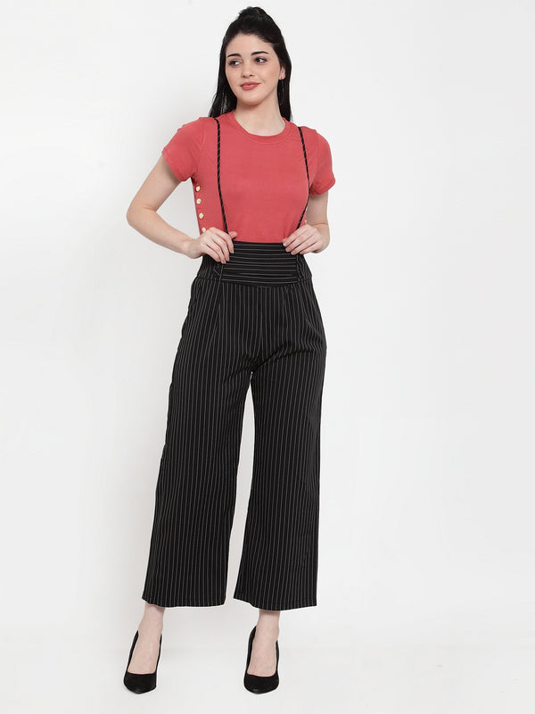 Women Black Polyester Striped Dungaree