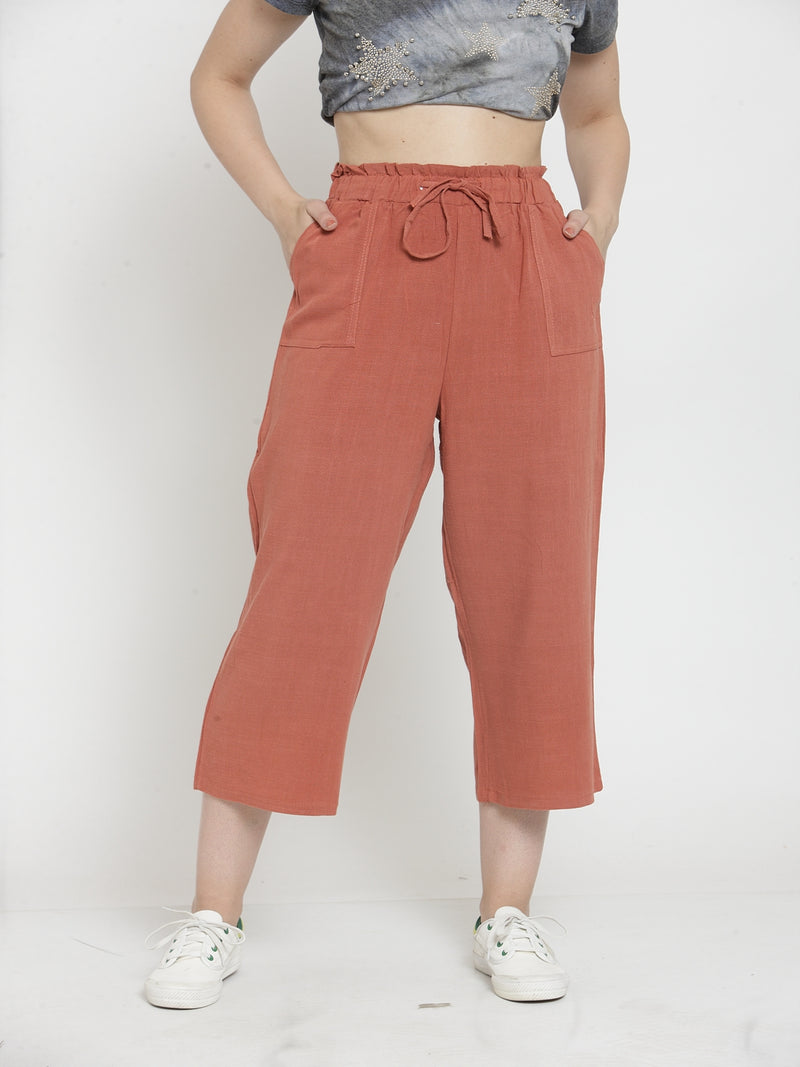 Women Rust Solid Straight Fit Lower
