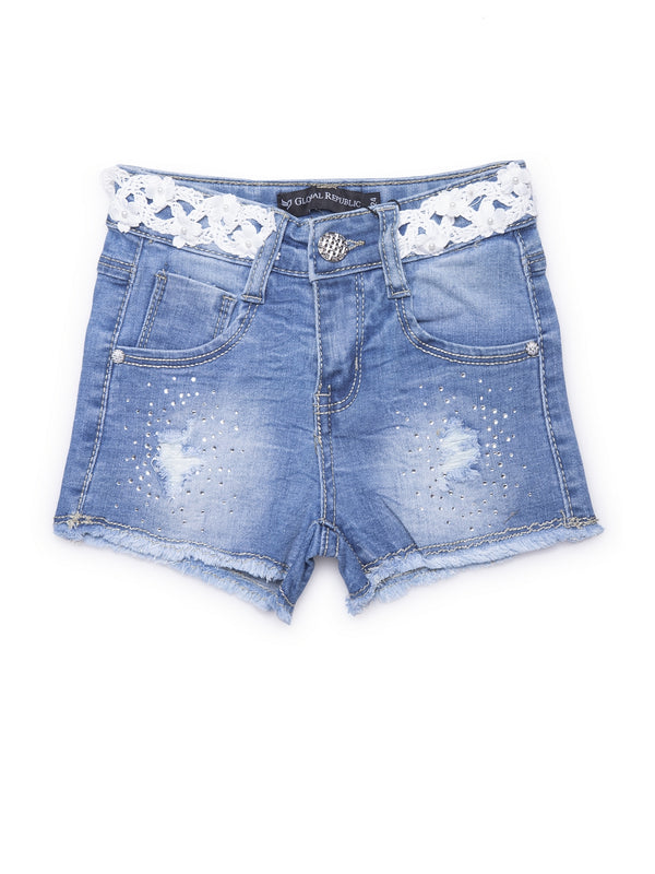 Kids Denim Shorts With Embellished Bee