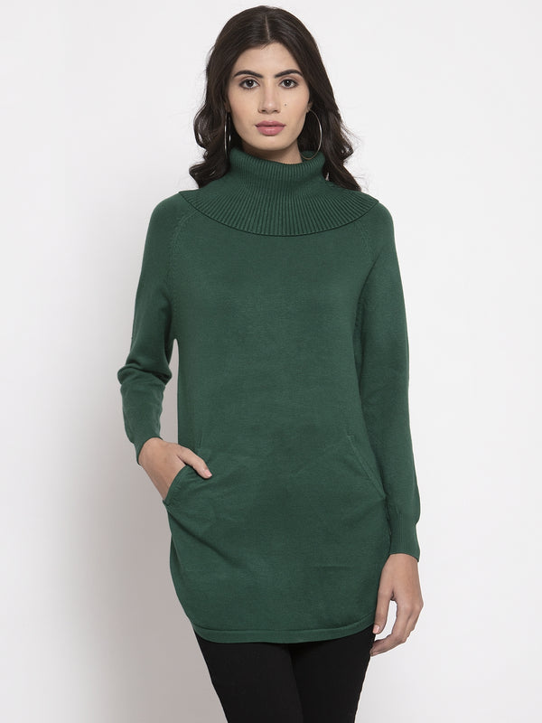 Women Green Long Sleeves Solid Pullover