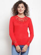 Women Solid Red Round Neck Pullover