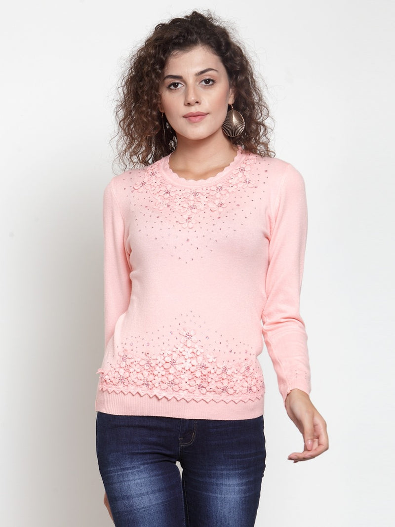 Women Solid Peach Round Neck Pullover
