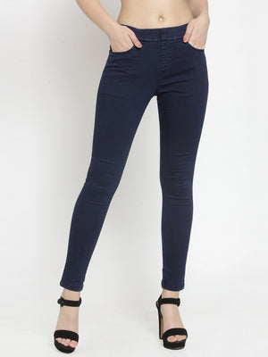 Women Solid Blue Denim Jegging