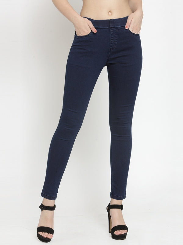 Women Solid Dark Blue Denim Jegging