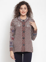 Women Brown Knitted Christmas Sweater